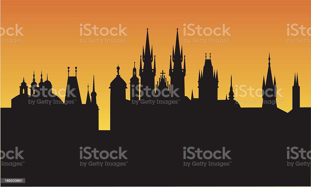 prague sunset royalty-free stock vector art