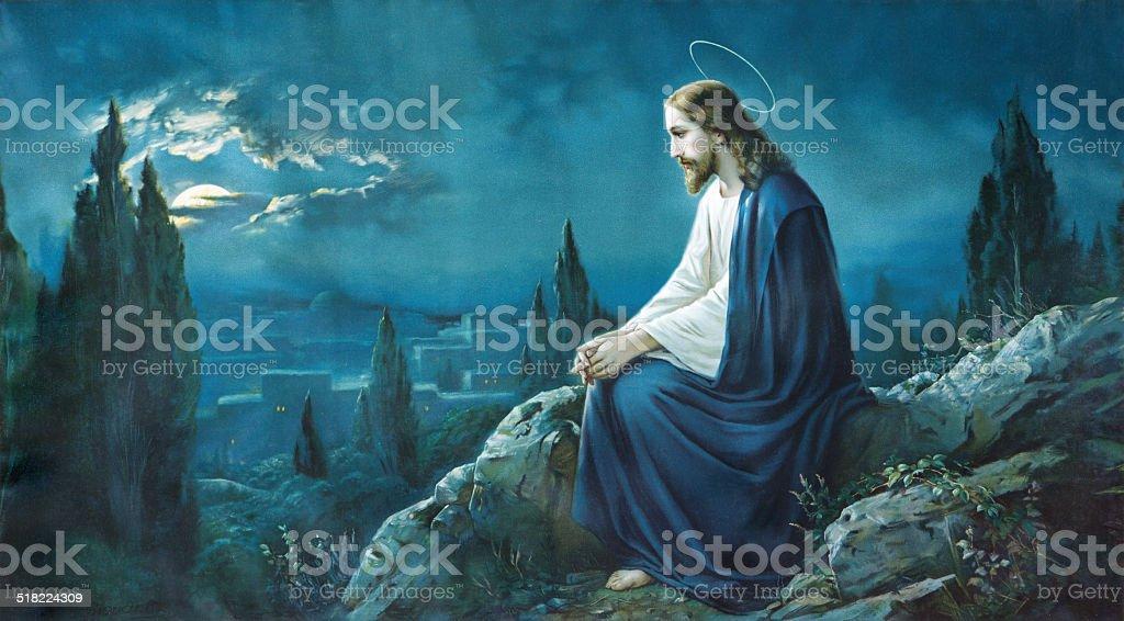 Prayer of Jesus in the Gethsemane garden. vector art illustration