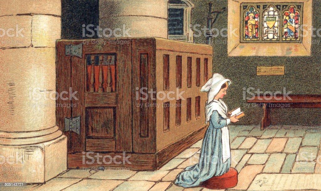 Praying in church vector art illustration