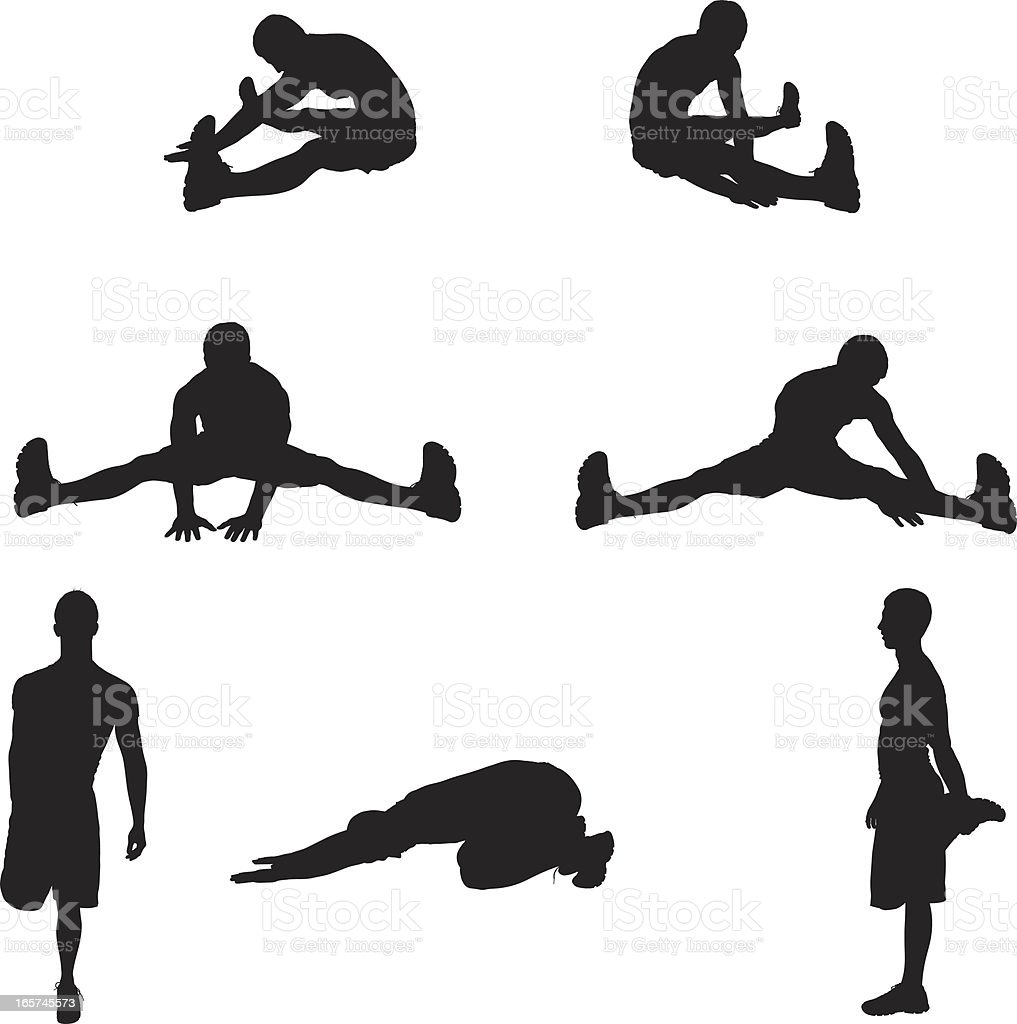 Pre workout stretching man royalty-free stock vector art