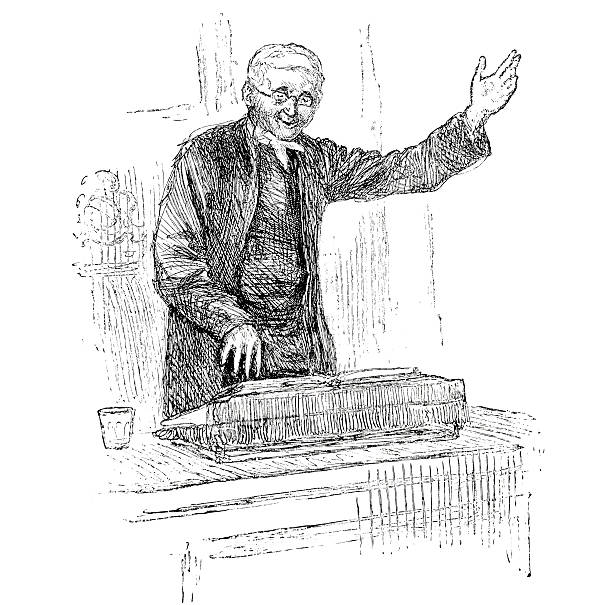 preacher at pulpit - victorian engraving - old man standing drawings stock illustrations, clip art, cartoons, & icons