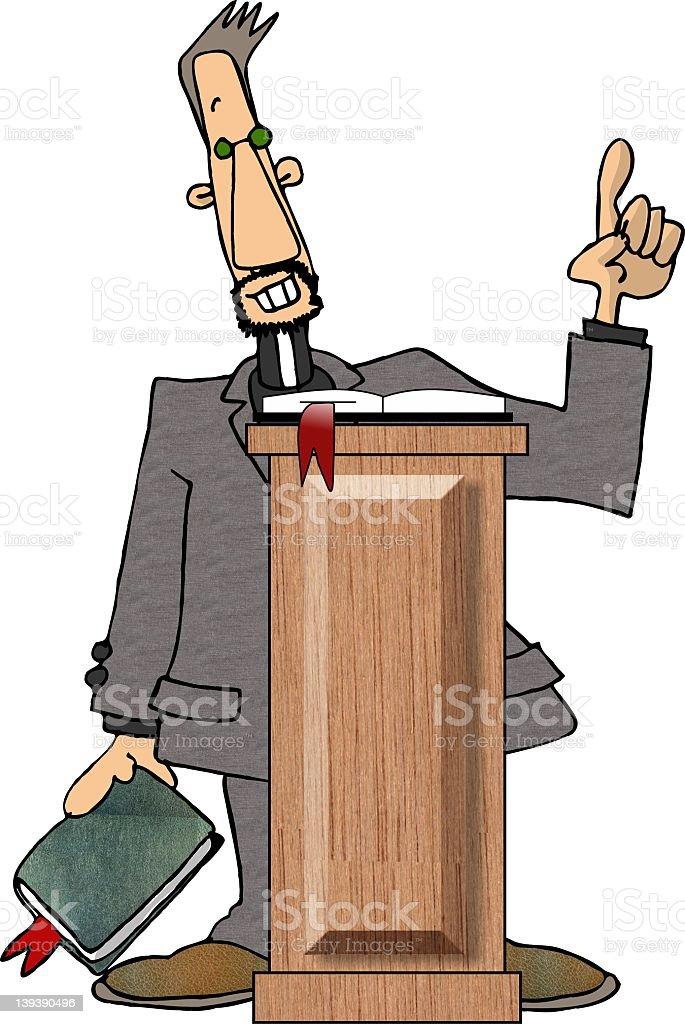Preacher at the pulpit vector art illustration