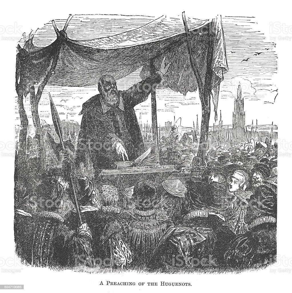 Preaching of the Huguenots (antique engraving) vector art illustration