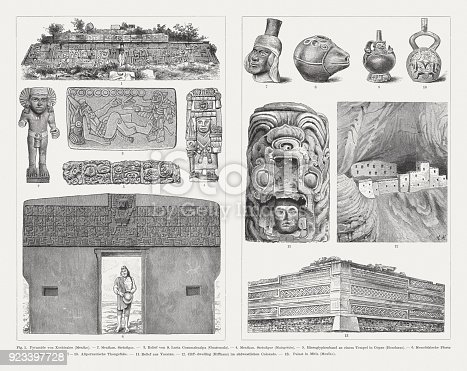 Pre-American archaeological finds: 1) Pyramid of Xochicalco (Mexico); 2) Mexican stone figure; 3) Relief of Santa Lucía Cotzumalguapa in Guatemala; 4) Mexican stone figure (Corn Goddess, Chicomecoatl, Dahlem Museum, Berlin); 5) Mayan scripture relief (Copan, Honduras); 6) Gate of the Sun (Tiwanaku, Bolivia, Unesco World Heritage Site); 7 - 10) Pre-Peruvian clay vessels; 11) Relief from Yucatan (Mexico); 12) Cliff dwellings (Mesa Verde, Colorado, USA); 13) Palace at Mitla (Mexico). Wood engravings, published in 1897.