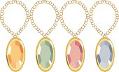 Precious stones of different color set in gold