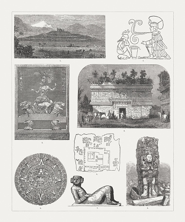 Pre-Columbian monuments, Mexico and Central America, wood engravings, published 1888
