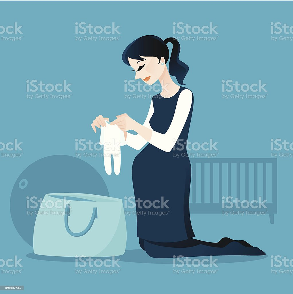 Pregnant Lady Packing Her Hospital Bag royalty-free stock vector art