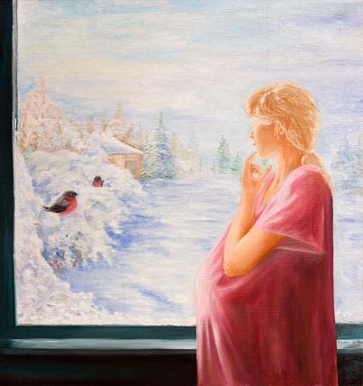 Hamile Bir Kadin Vasil Belgili Tanimlik Pencere Tuval Uzerine