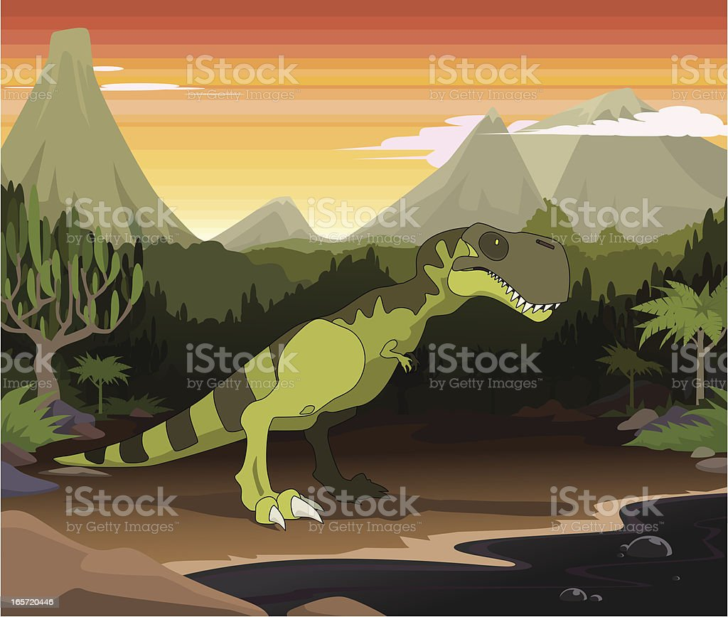 Prehistoric tar pits vector art illustration