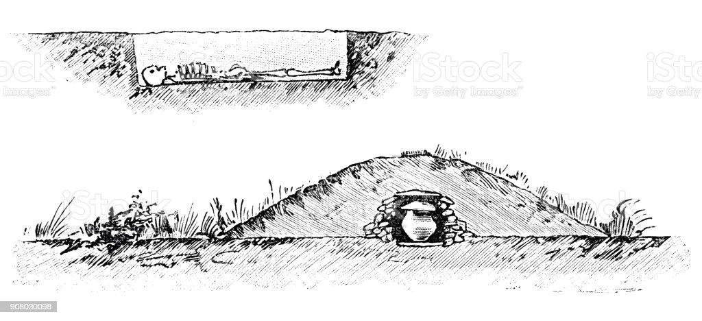 Prehistoric times: Skeleton and hill grave vector art illustration