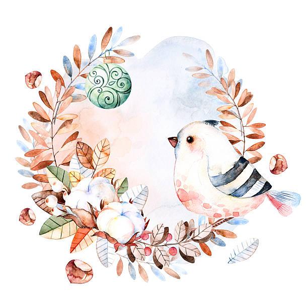 ilustrações de stock, clip art, desenhos animados e ícones de pré-natal card.winter coroa de flores feita - pena de pássaro algodão