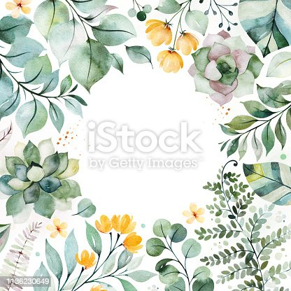 istock Pre-made Greeting card with succulent plants,palm leaves,branches and more 1136230649