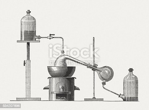 Preparation of diethyl ether: condensation of ethyl alcohol (ethanol) and sulfuric acid at a temperature of 130 to 140 ° C (273 to 413 ° K). Wood engraving, published in 1880.