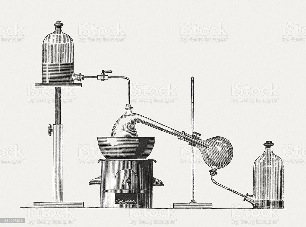Preparation of diethyl ether, wood engraving, published in 1880 vector art illustration