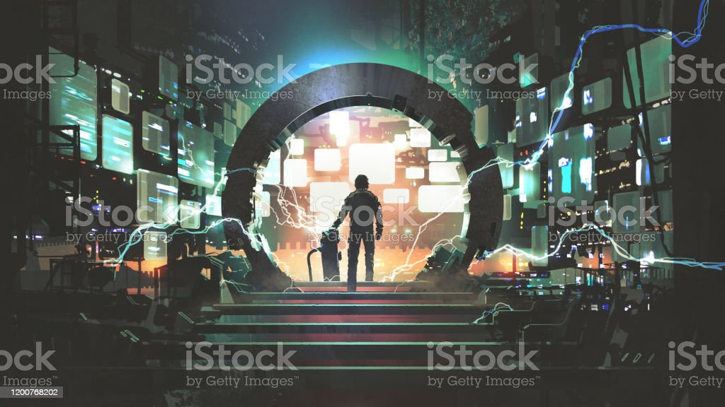 preparing to go to another world sci-fi concept showing a man standing at the futuristic portal, digital art style, illustration painting Adult stock illustration