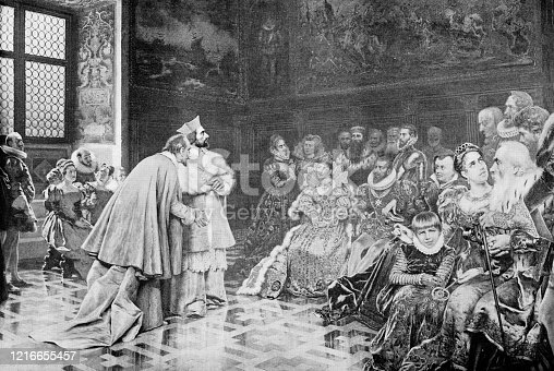 Presentation of Richelieu (Alphonse-Louis du Plessis de Richelieu) to Henry of Navarre (Henry IV, King of France) by Giuseppe Aureli (circa 19th century). Vintage etching circa late 19th century.