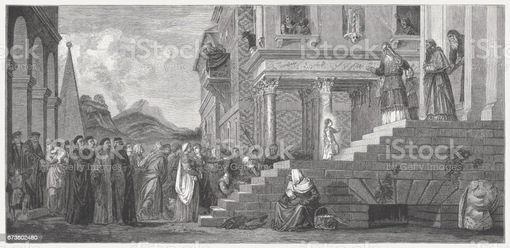 Presentation of the Virgin at the Temple, painted (1534/38) by Titian vector art illustration
