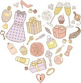 vector illustration of presents for women in heart shape