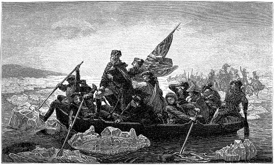 US president George Washington crossing river Delaware 1882