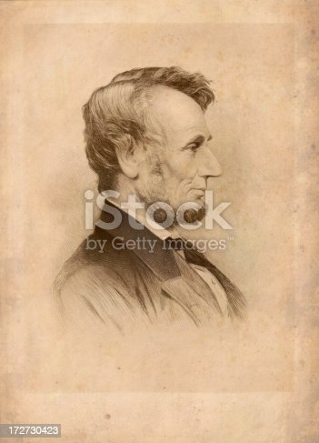 A 19th century engraving of the sixteenth president of USA Abraham Lincoln. Author T. Johnson (1879). Photo by N. Staykov (2007)