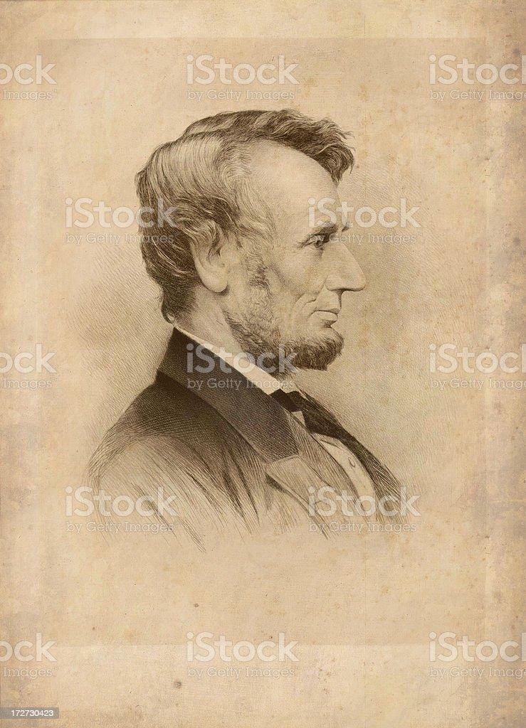 President Lincoln Antique Print vector art illustration