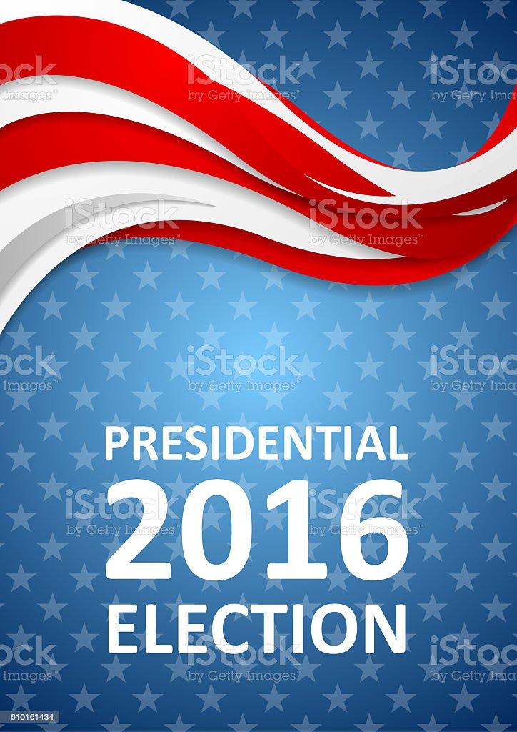 USA Presidential Election 2016 flyer template vector art illustration