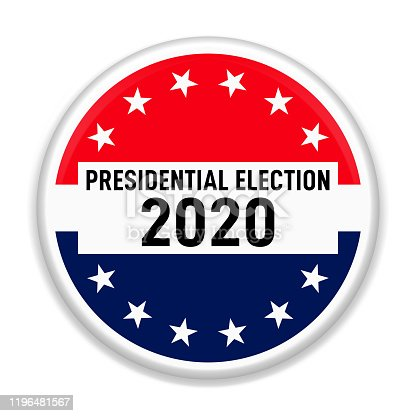 istock 2020 Presidential Elections pin background. Badge for US elections, voting concept vector illustration. 1196481567