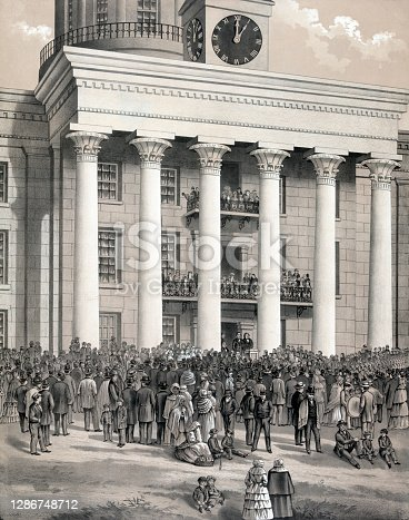 Vintage image features the inauguration of Jefferson Davis as president of the Confederate States of America, in front of the State Capitol in Montgomery, Alabama, on February 18, 1861.