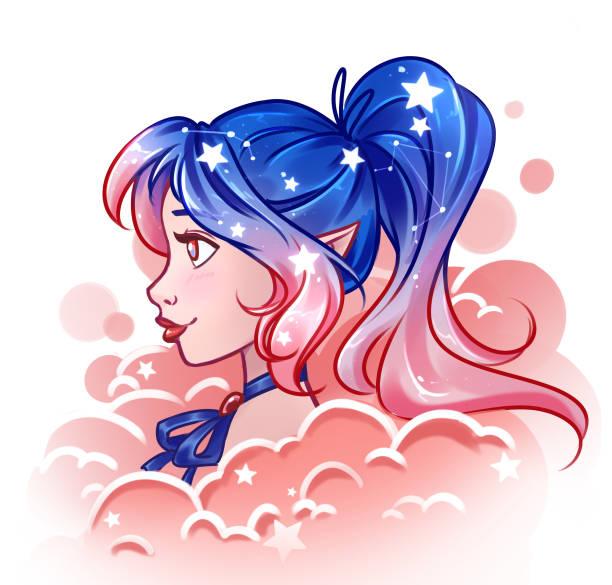 bildbanksillustrationer, clip art samt tecknat material och ikoner med ganska tecknad flicka med glans kosmos hår i blå och rosa färger. - sparkle teen girl