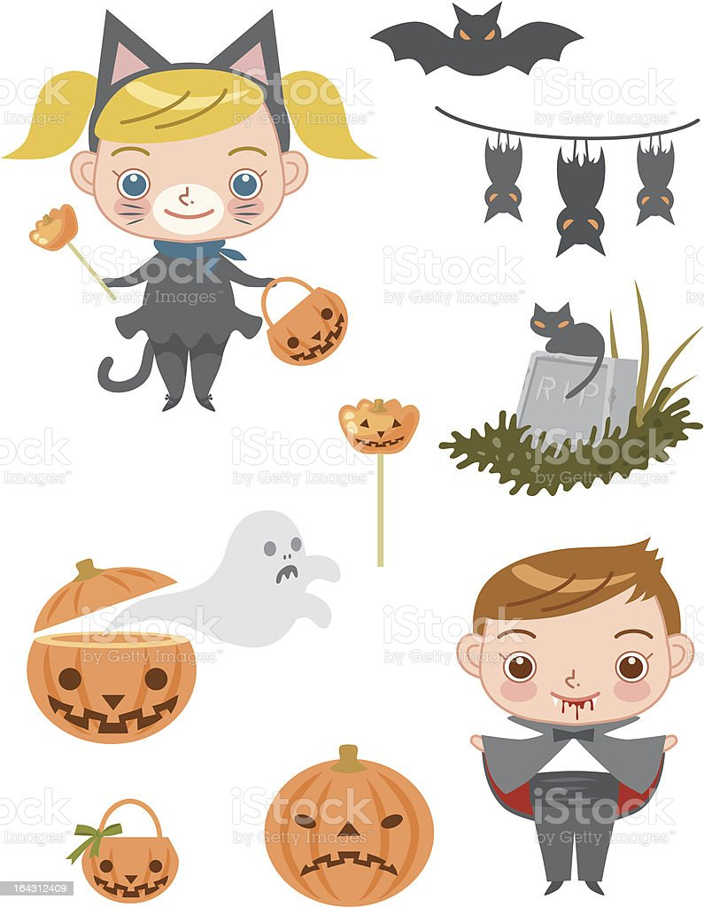 pretty cat girl and vampire boy royalty-free stock vector art