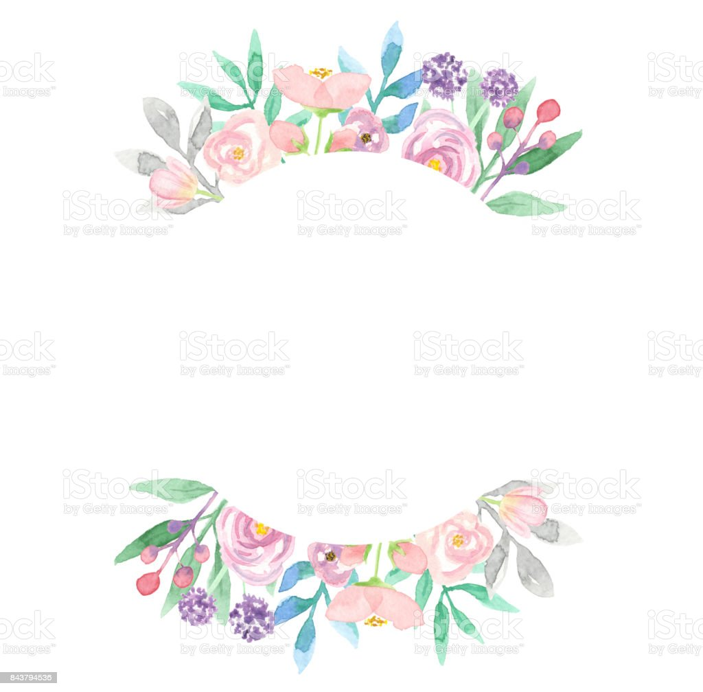 Pretty Floral Watercolor Circle Frame Spring Summer Wreath Stock ...