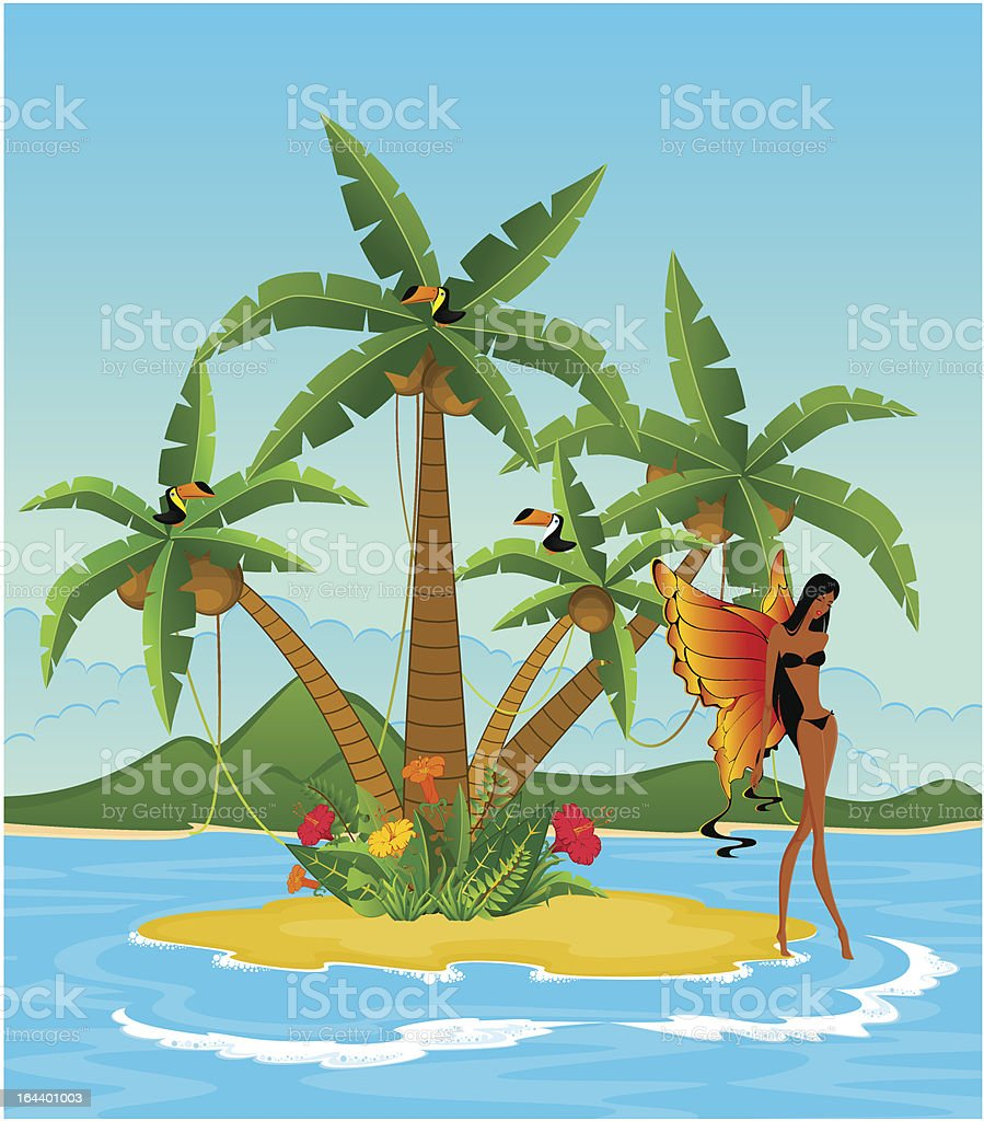 Pretty girl on island with tropical palms royalty-free stock vector art