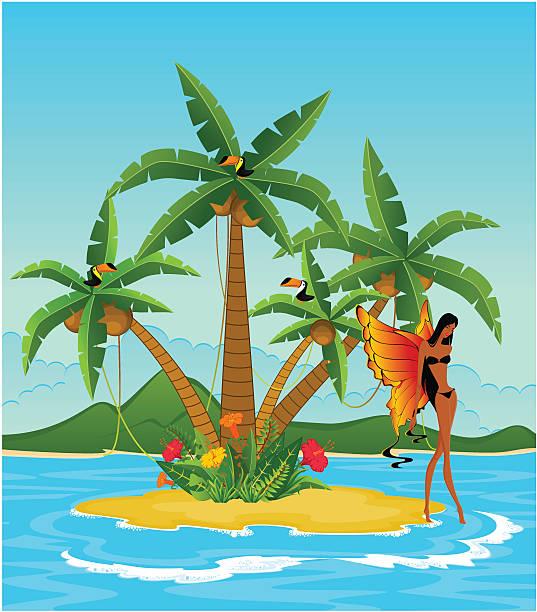 schöne mädchen auf der insel mit tropischen palmen - tinkerbell stock-grafiken, -clipart, -cartoons und -symbole