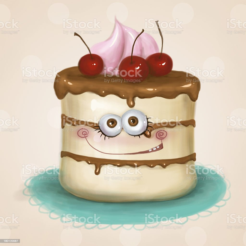 Pretty smiling cake royalty-free stock vector art