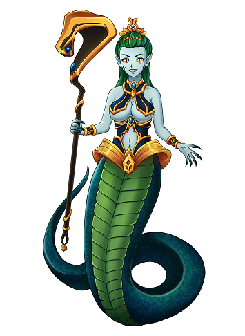 Pretty snake girl with golden magic staff and green snake tail. Hand drawn anime illustration.