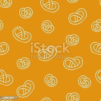 istock Pretzel seamless pattern. Bakery doodle product German salted lye biscuit, cartoon white elements on yellow, decor textile, fabric wrapping paper, packaging design, wallpaper vector texture 1286268317