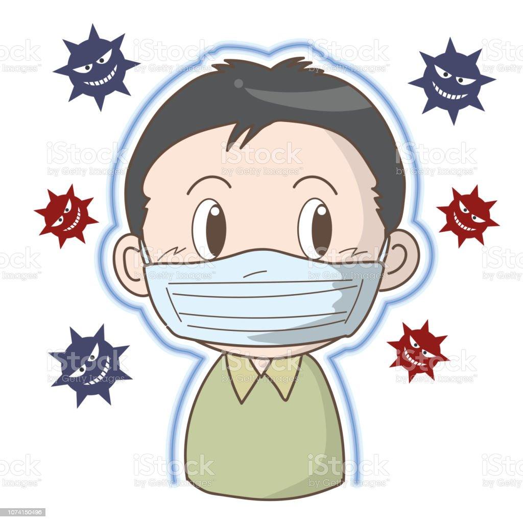 Prevention of flu and cold - Boy vector art illustration