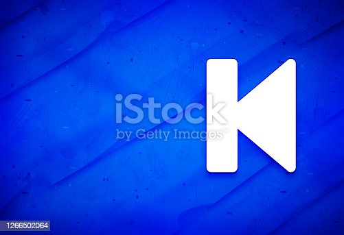 istock Previous track icon abstract watercolor painting dark blue background illustration 1266502064