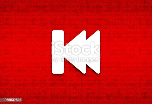 istock Previous track playlist icon abstract digital screen red background illustration 1266502694