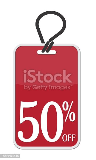 3-D Rendering of a red price tag with the text