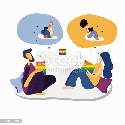 LGBTQ pride month. Loving couple of LGBT men and women correspond in social networks. Gender equality, minorities, the concept of adoption. Treason, choice.