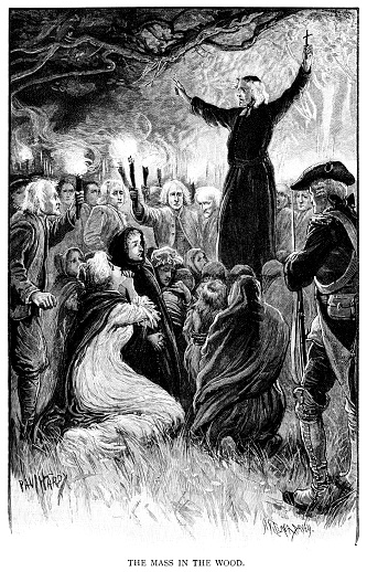 """A Catholic priest delivering Mass in a wooded area, with crowds holding flaming torches taking part and a soldier watching. From """"The Strand Magazine - An Illustrated Monthly - Volume IV, July to December""""; edited and published by George Newnes, London, in 1892."""