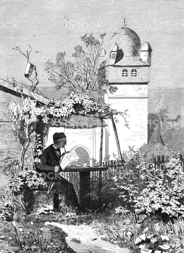 A priest sits outside in the garden on the first day of spring and reads a newspaper vector art illustration