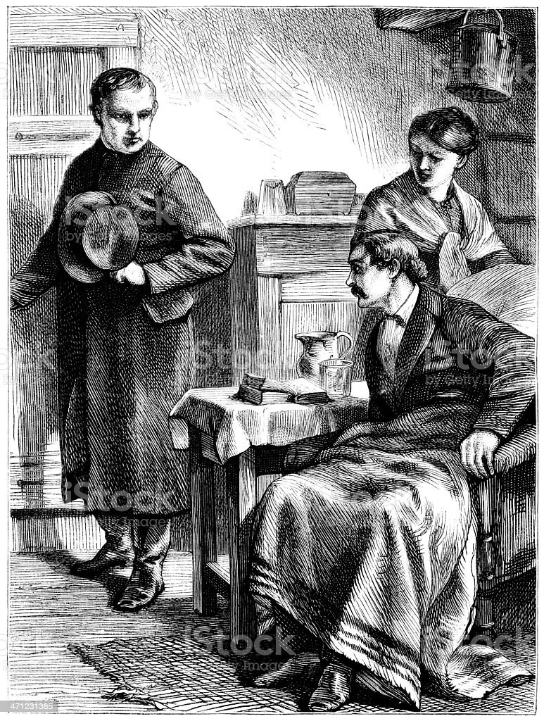 Priest visiting an invalid (Victorian illustration) royalty-free stock vector art