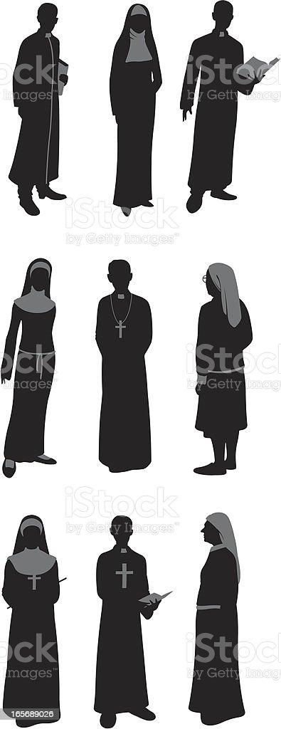 Sacerdotes y a monjas católicas - ilustración de arte vectorial