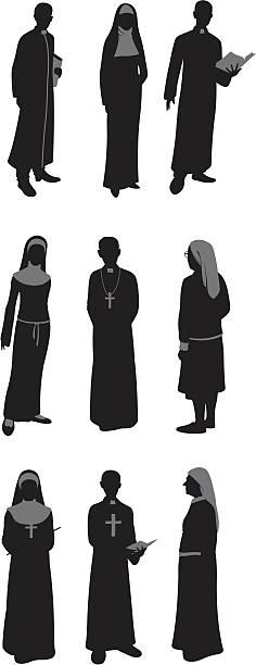 ilustraciones, imágenes clip art, dibujos animados e iconos de stock de sacerdotes y a monjas católicas - hermana