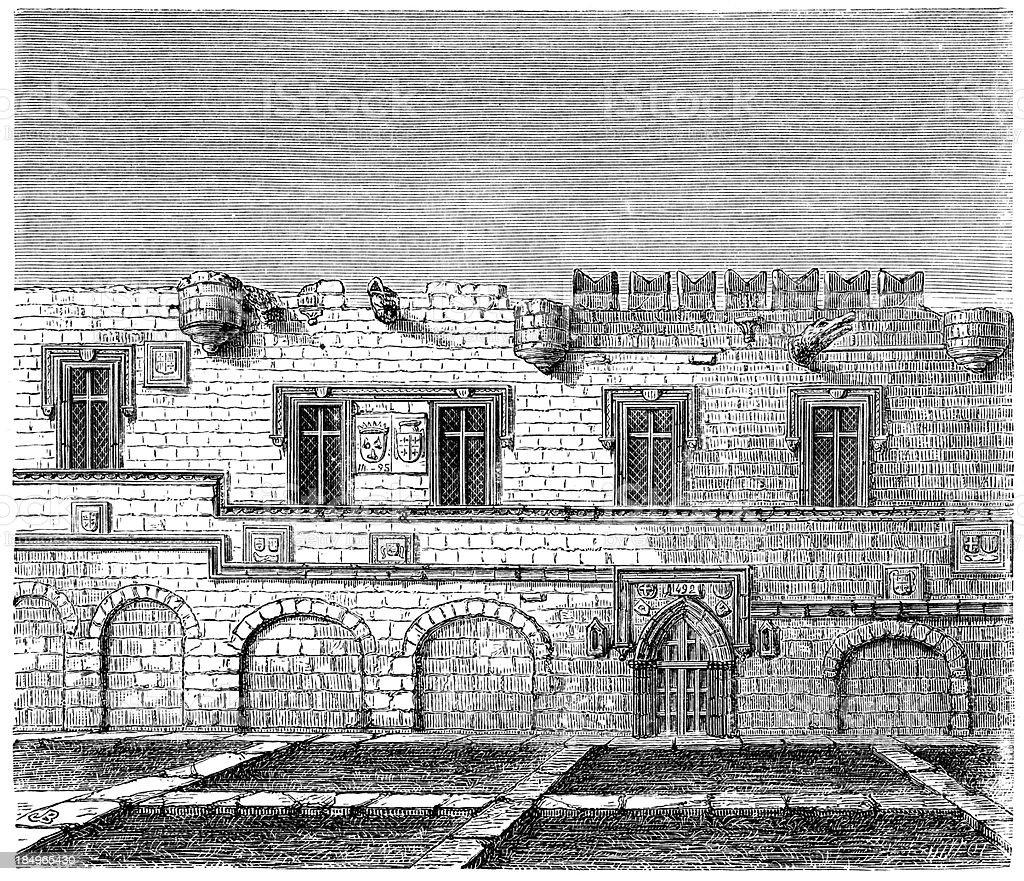 Prieure de France Rhodes vector art illustration