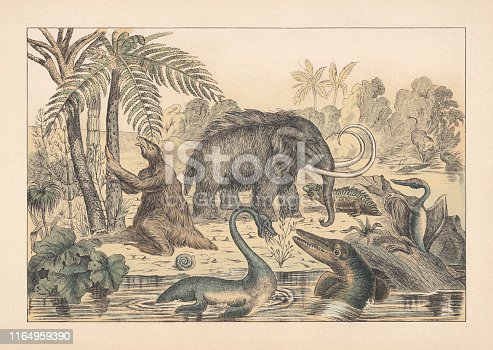 Primeval animals, hand-colored lithograph, published in 1892