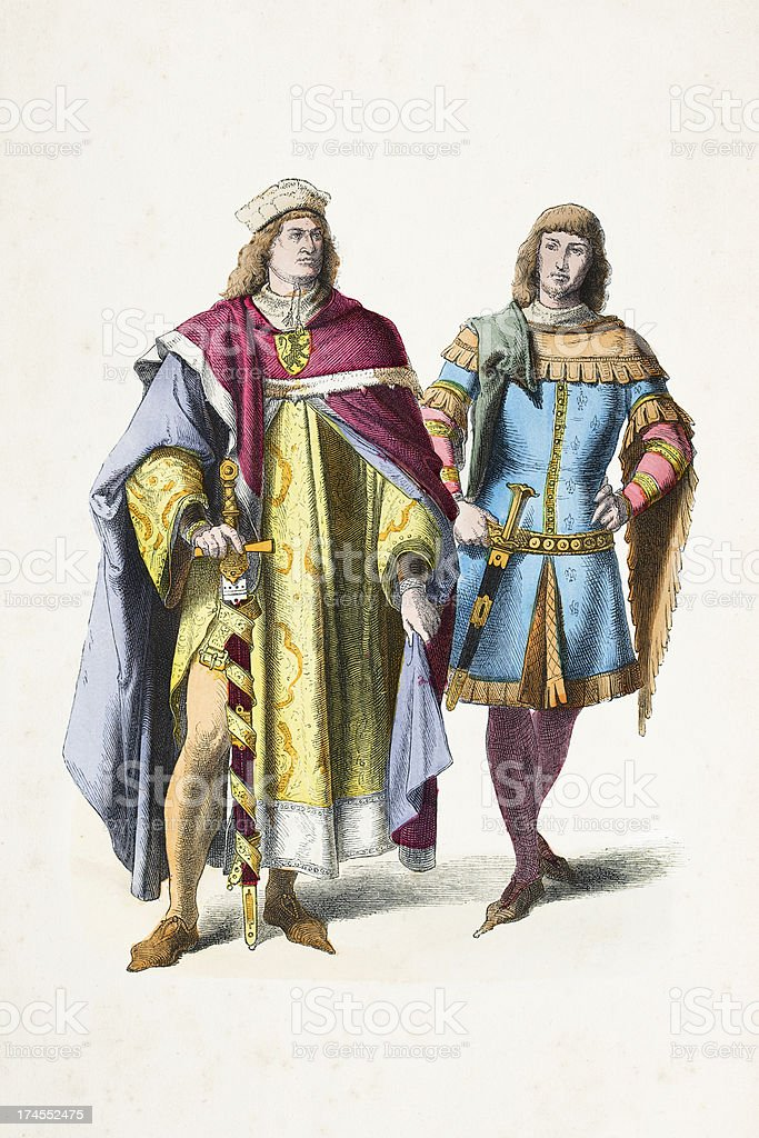 Prince and knight in traditional clothing 14th century royalty-free stock vector art