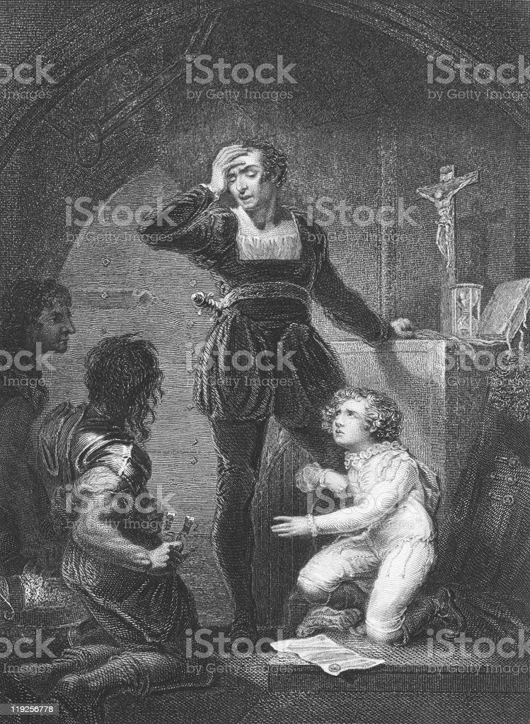 Prince Arthur and Hubert in King John by William Shakespeare vector art illustration